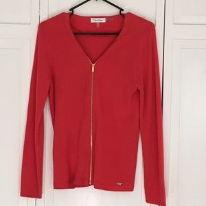 Calvin Klein zip up cardigan, M, bright coral